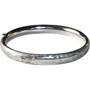 Carl Art Engraved Sterling Hinged Bangle Bracelet