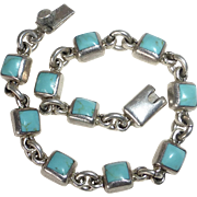 Mexican Sterling & Turquoise Cab Link Bracelet