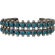 Native American Zuni Pawn Sterling Petit Point Turquoise Cuff Bracelet