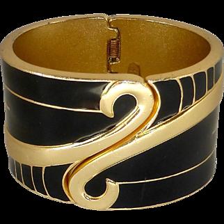 Orena, Paris Enamel Clamper Cuff Bracelet c1980s