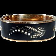 Victorian 14k Enamel Seed Pearl Mourning Bracelet