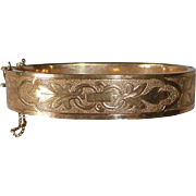 Victorian Gold Filled Engraved Hinged Bangle Bracelet