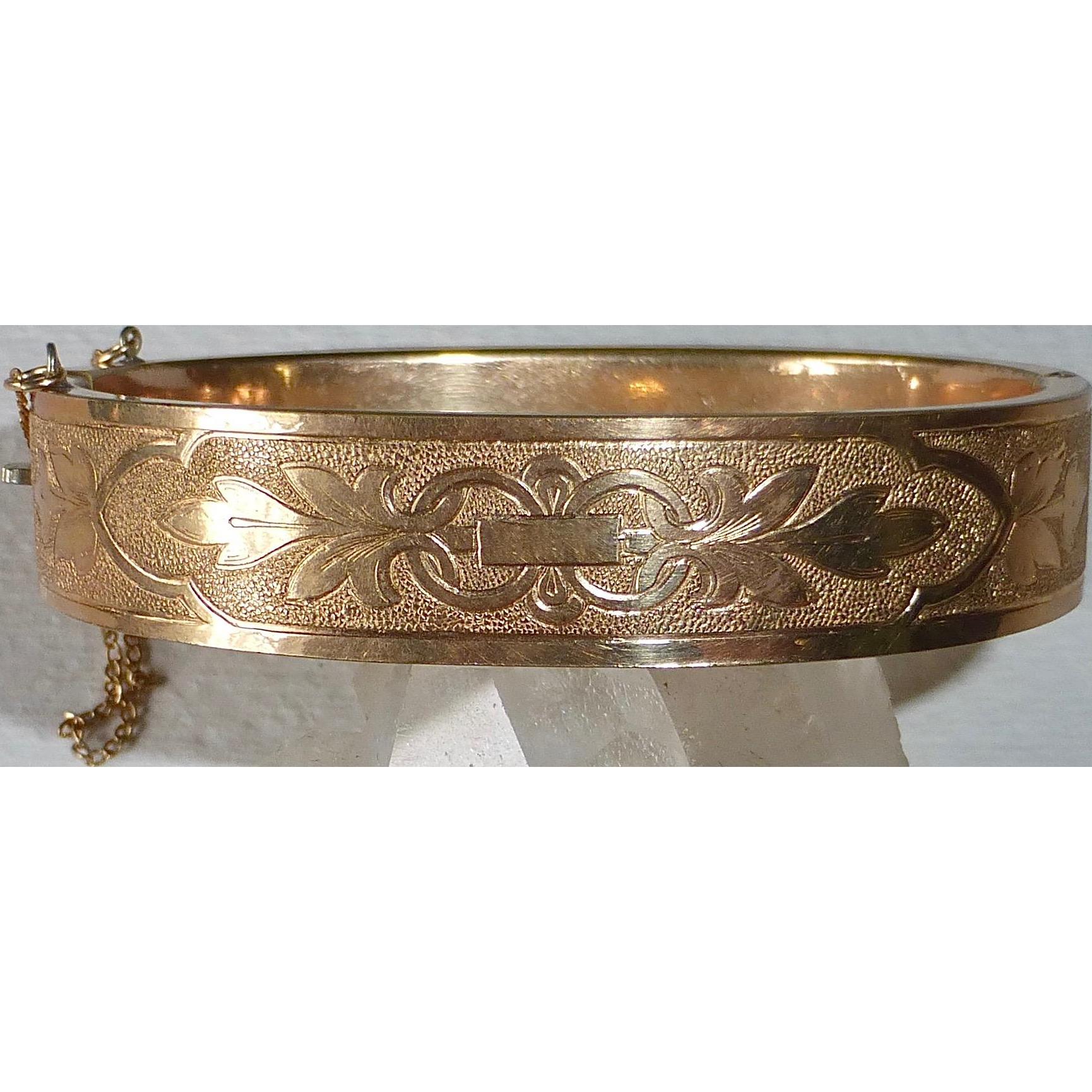 Victorian Gold Filled Engraved Hinged Bangle Bracelet