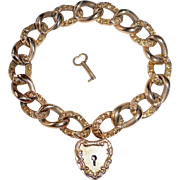 Victorian Rose Gold Filled Lock & Key Embossed Link Bracelet