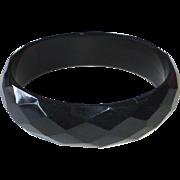 Art Deco Faceted Black Bakelite Bracelet