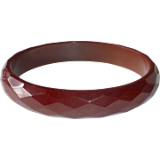 Bakelite Cherry Chocolate Faceted Bangle Bracelet