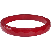 Faceted Bakelite Bangle Bracelet in Cherry Red