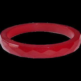 Faceted Bakelite Bangle Bracelet in Cherry Red