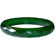 Faceted Green Prystal Bakelite Bangle Bracelet