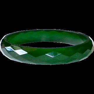 Faceted Green Prystal Bakelite Bangle Bracelet