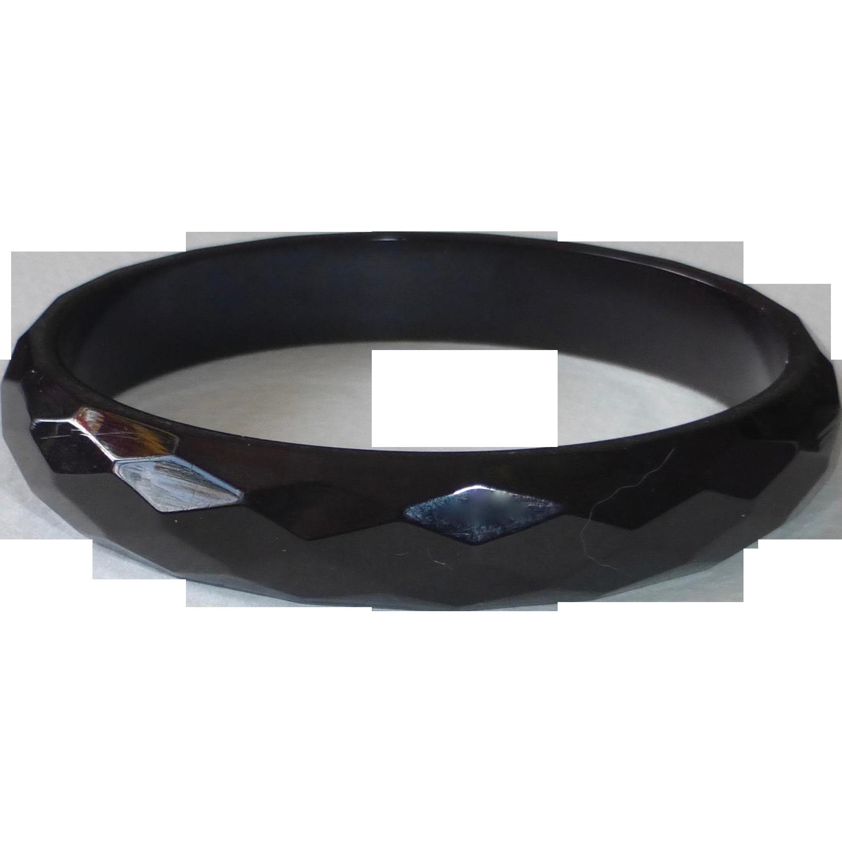 Art Deco Jet Black  Faceted Bakelite Bracelet