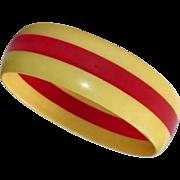 Bakelite Laminated Bangle Bracelet Creamed Corn & Cherry Red