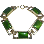 Art Deco Brass & Art Glass Bracelet
