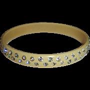 Art Deco Celluloid & Paste Domed Bangle Bracelet