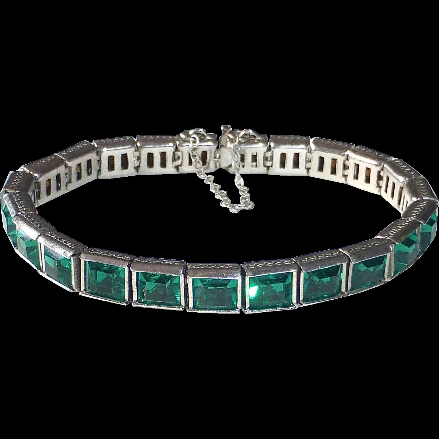 Art Deco Rhodium Plate Line Bracelet Emerald Green Paste