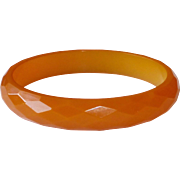 Faceted Creamy Butterscotch Bakelite Bangle Bracelet