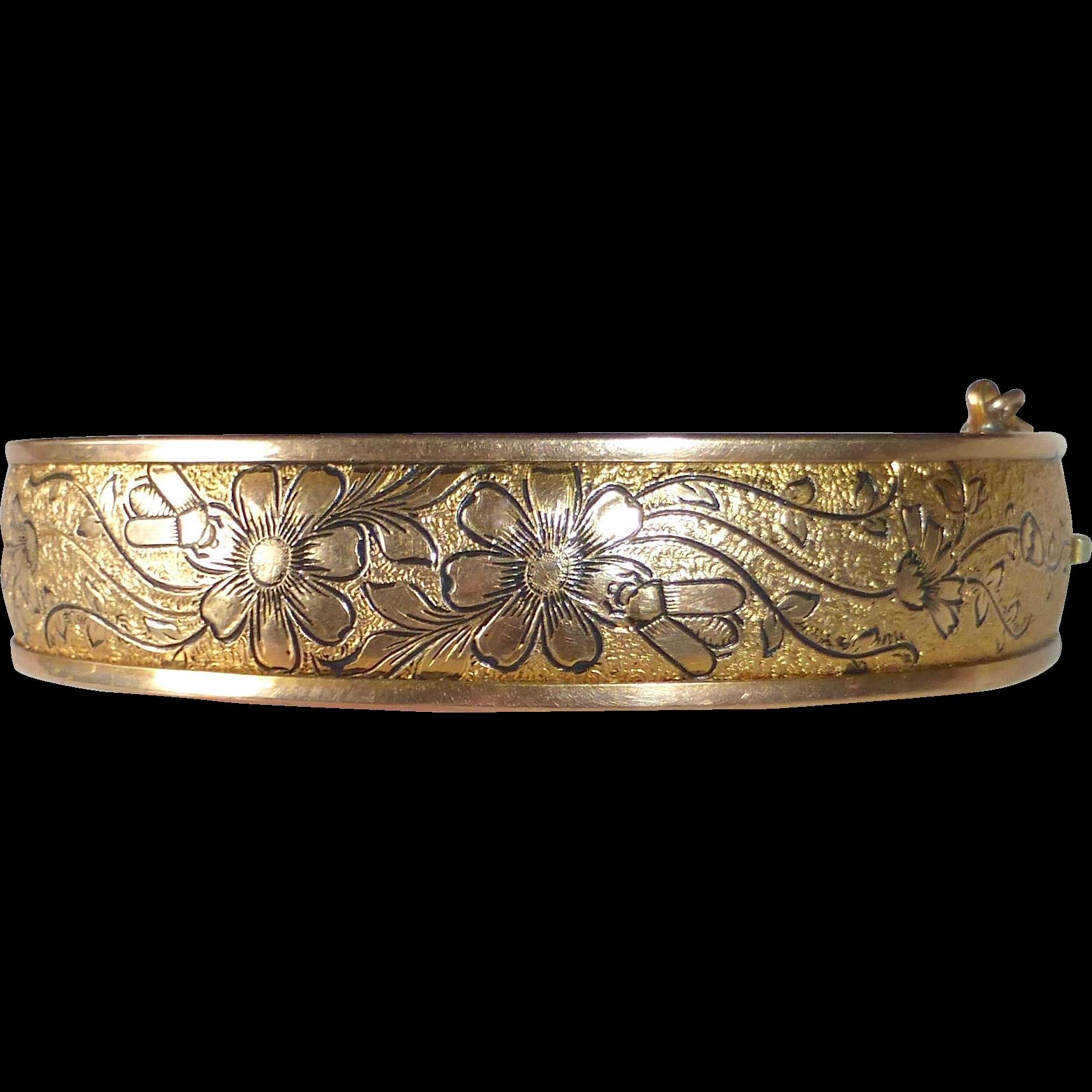 Victorian Revival Gold Filled Engraved Floral Hinged Bracelet