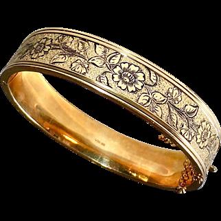 Victorian Revival Gold Filled Engraved & Enameled Hinged Bracelet