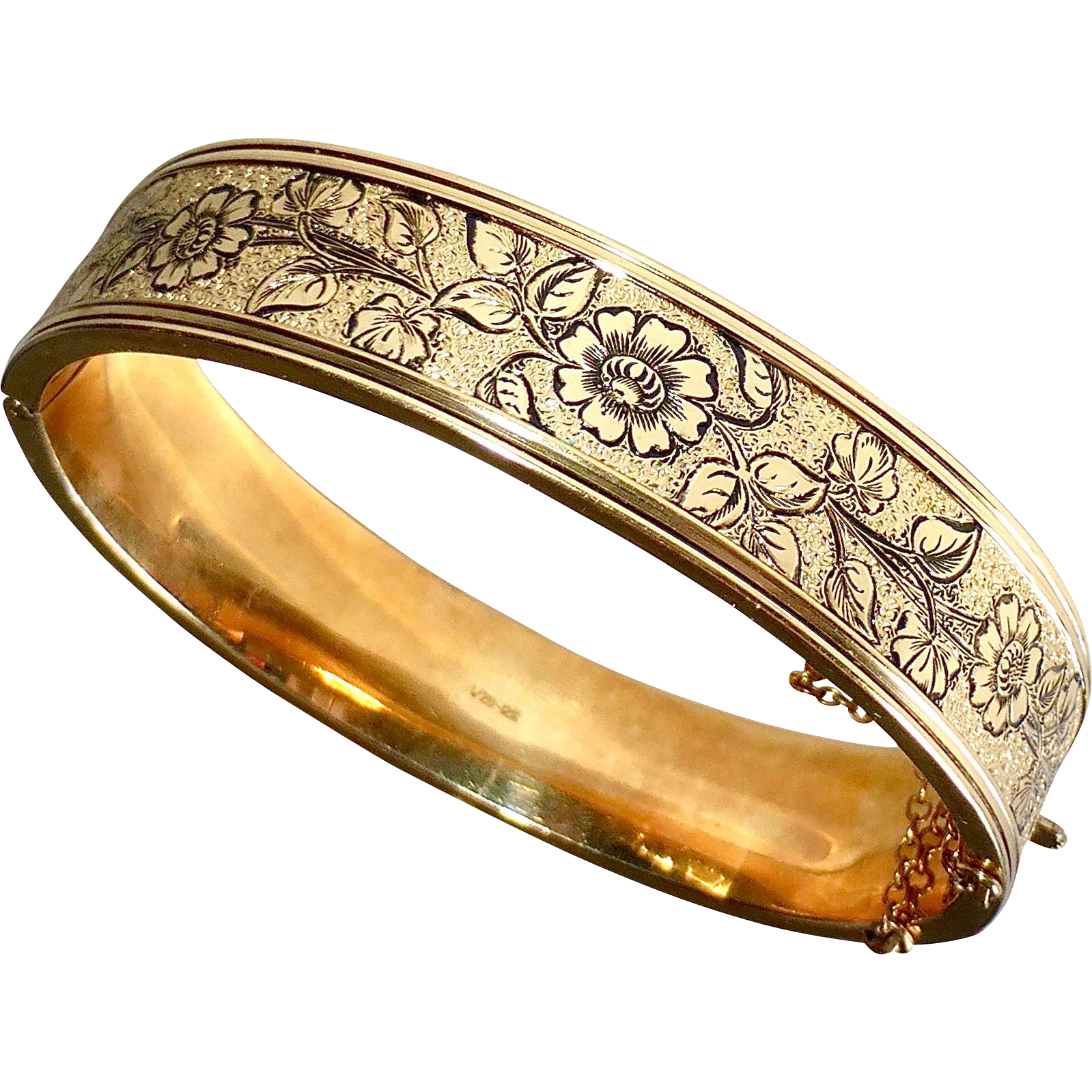 Victorian Revival Gold Filled Engraved & Enameled Hinged Bracelet