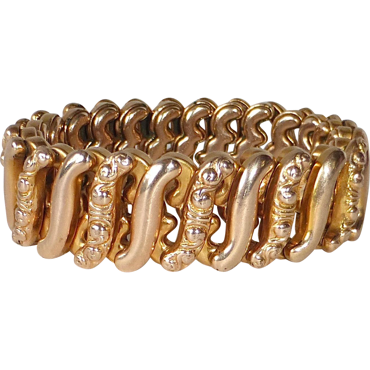Gold Filled Embossed Expansion Stretch Bracelet