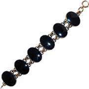 Gold Filled & Large Onyx Cabochon Bracelet