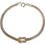 Gold Filled Lovers Knot Snake Chain Bracelet