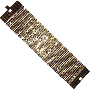 Gold Plated Slinky Wide Mesh Bracelet by Noir