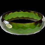 Bakelite Faceted Green Prystal Bangle Bracelet