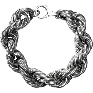 Chunky Sterling Twisted Link Chain Bracelet