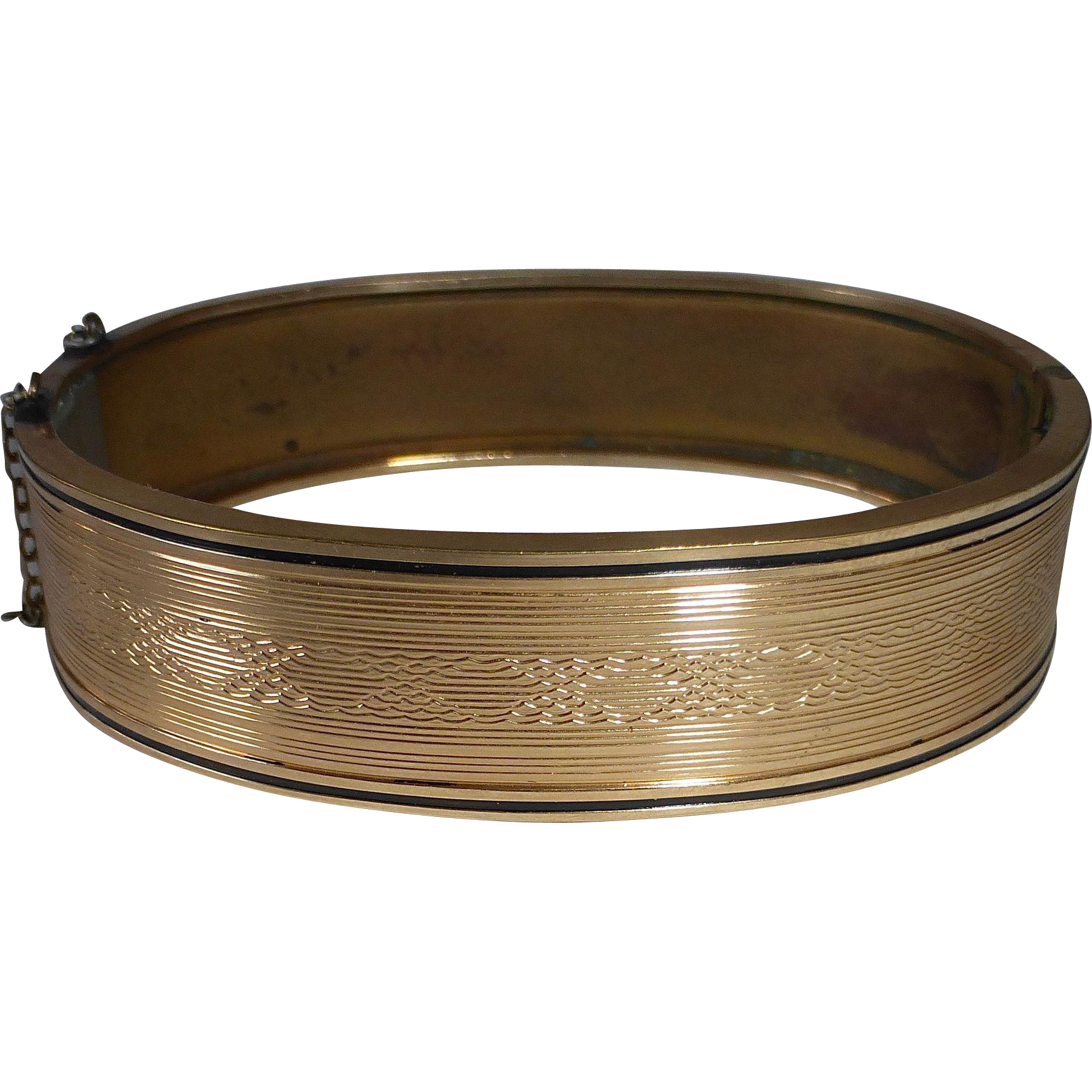 Gold Filled Engraved Hinged Bangle Bracelet