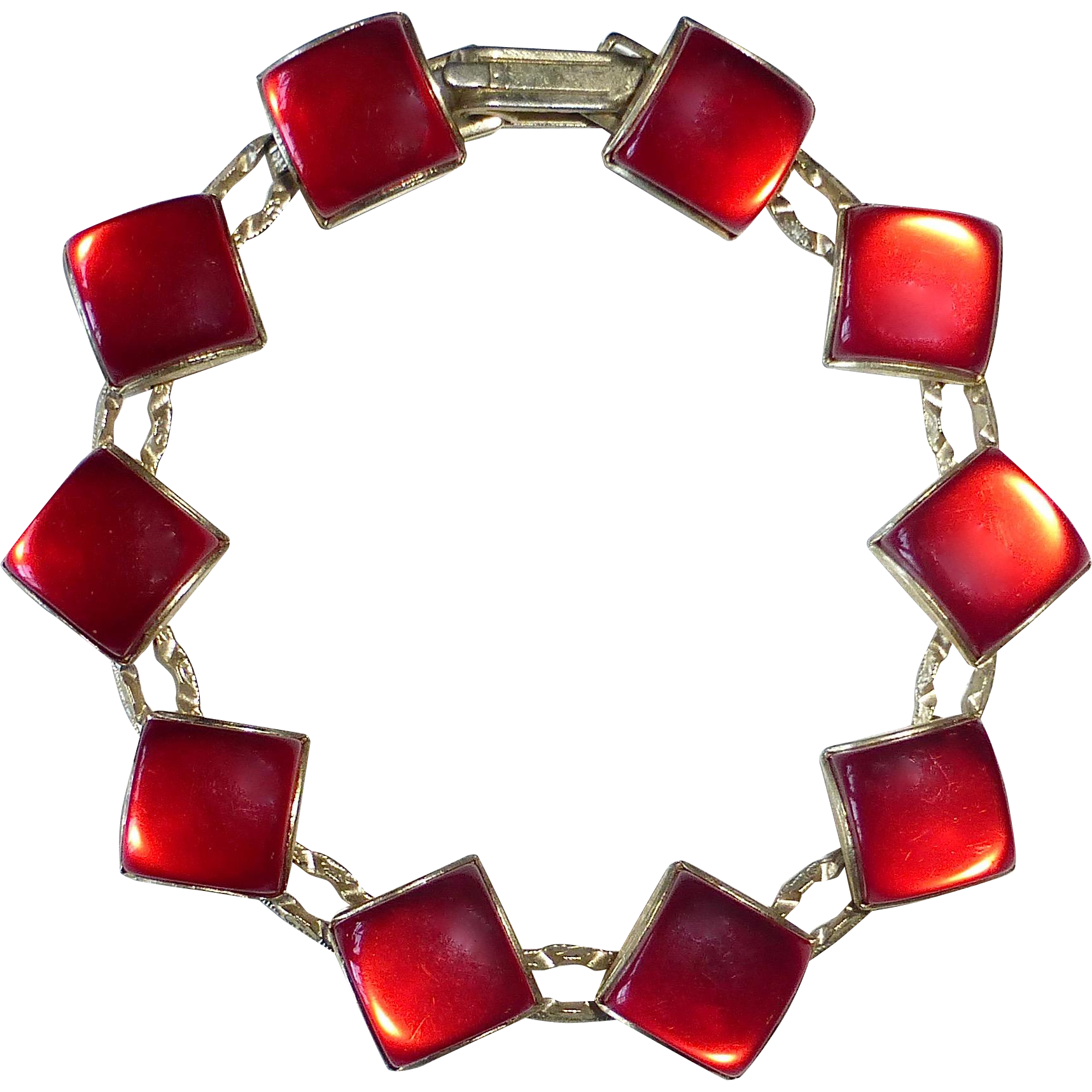 Mid Century Lipstick Red Moonglow Thermoplastic Bracelet