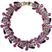 Hot Pink & Purple Rhinestone & Enamel Costume Bracelet Unsigned Weiss