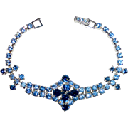 Ornate Rhinestone Bracelet is Shades of Blue