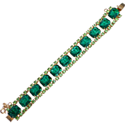 Vibrant Rhinestone Bracelet in Two Shades of Green