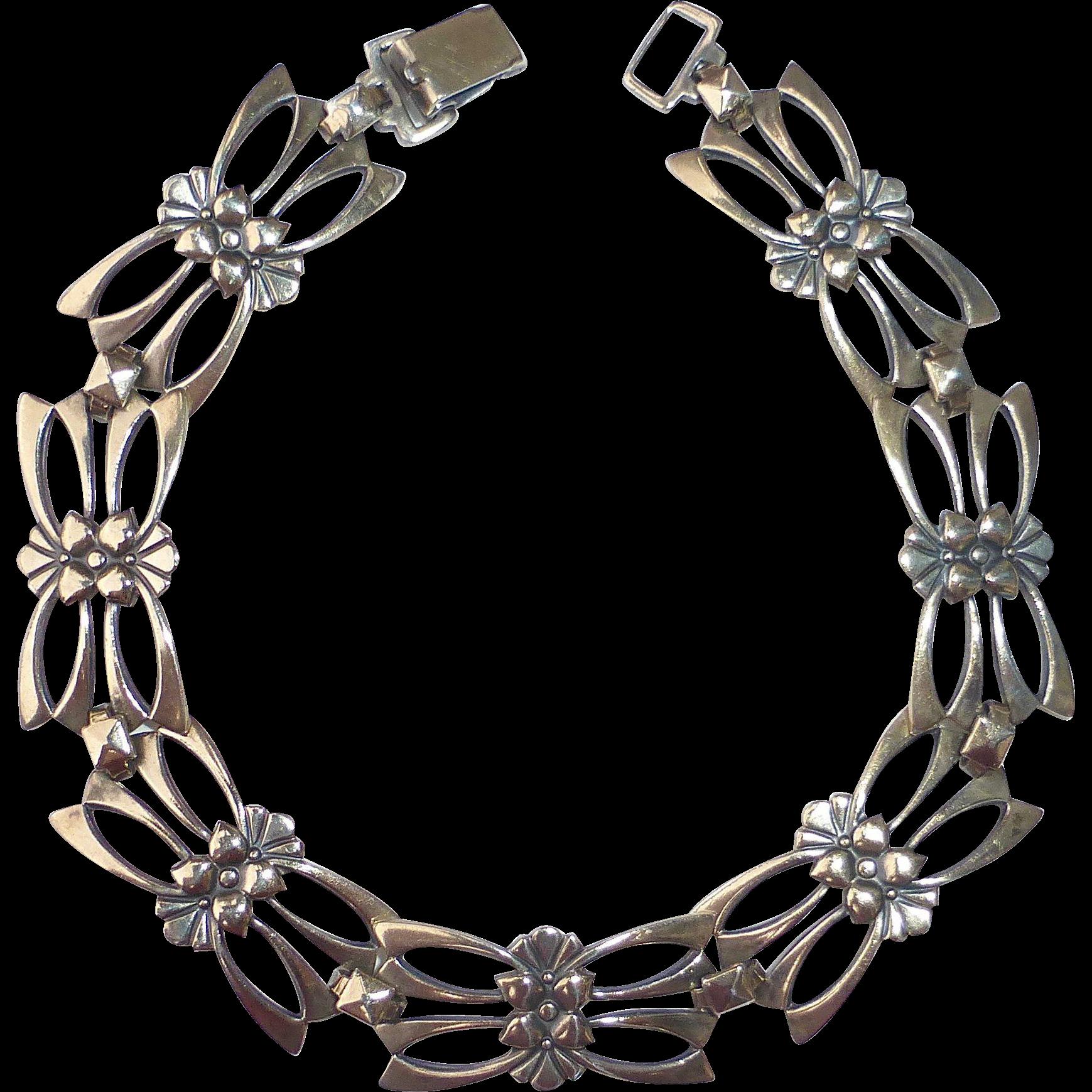 Symmetalic Sterling & 14k Pierced Link Bracelet