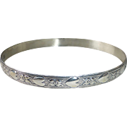 Danecraft Sterling Hearts & Flowers Bangle Bracelet
