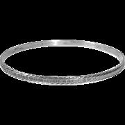 Signed MH Sterling Bright Cut Engraved Bangle Bracelet