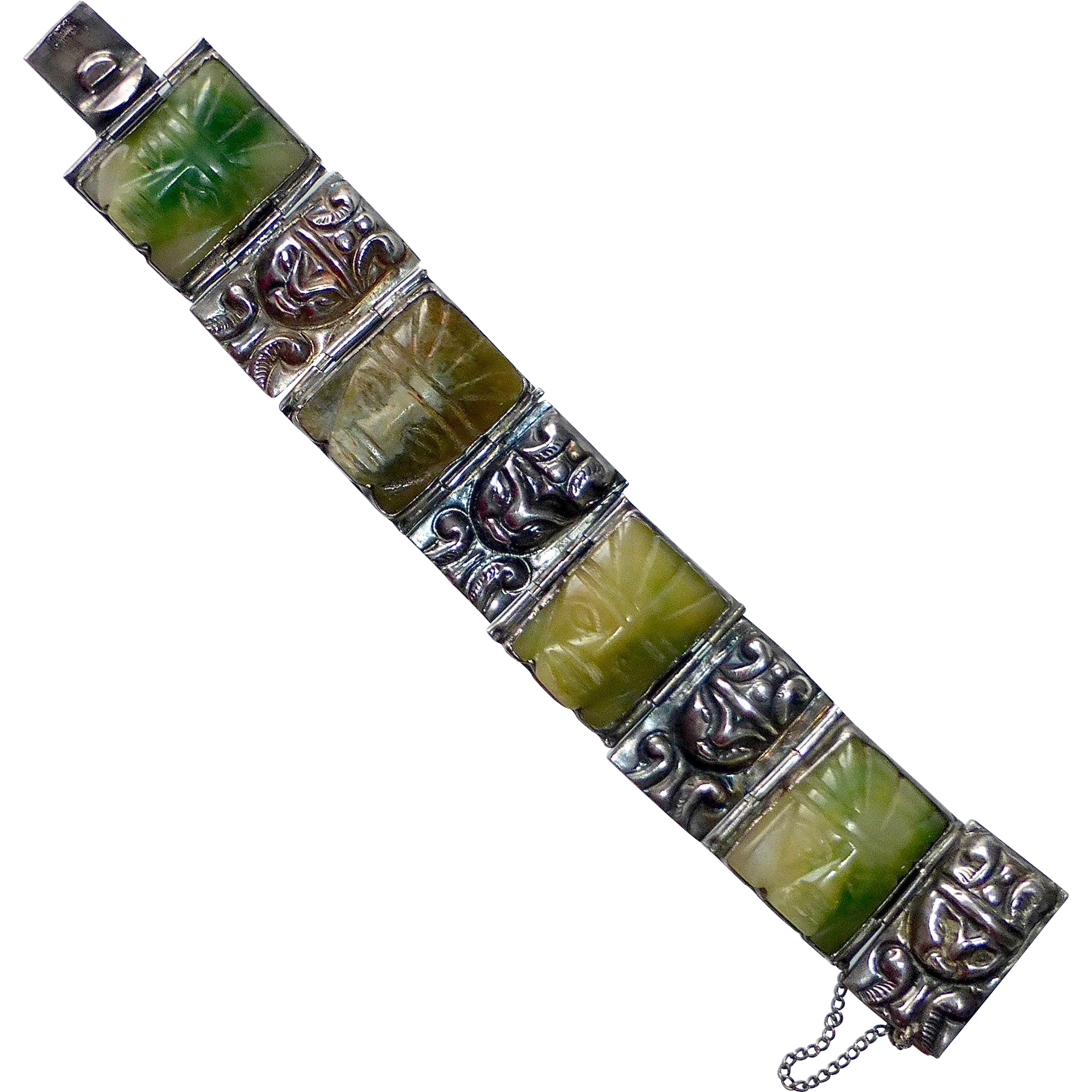 Mexican Sterling Pre Columbian Design Panel Bracelet Carved Faces
