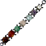 Mexican Sterling & Freeform Faceted Gemstone Bracelet