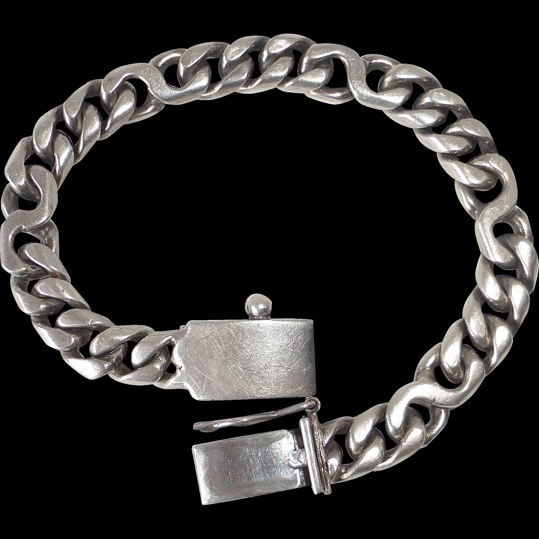 Mexican Sterling Heavy Flat Curb Chain Bracelet w Twist