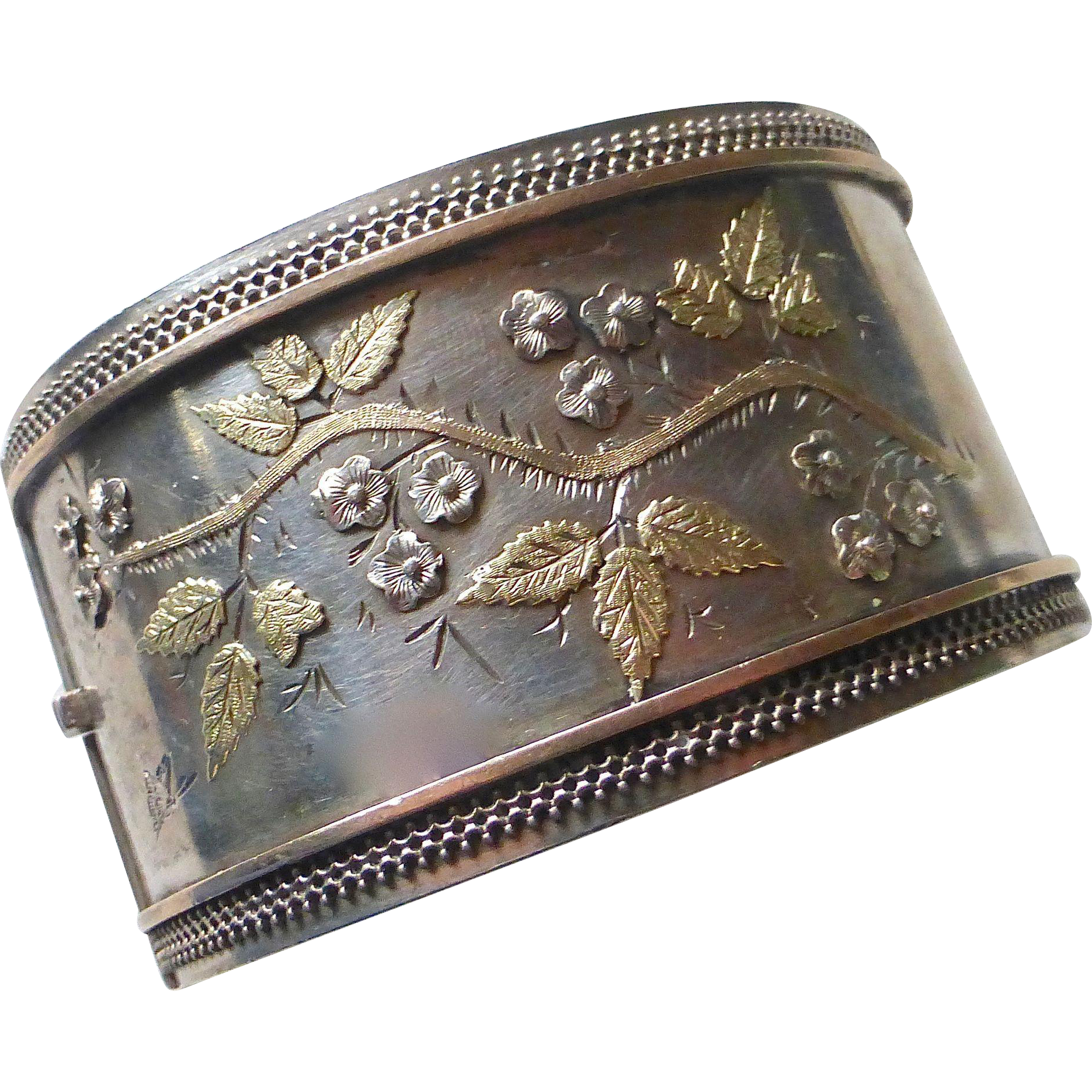 Sterling Aesthetic Wide Cuff Bracelet Rose & Yellow Gold Accents