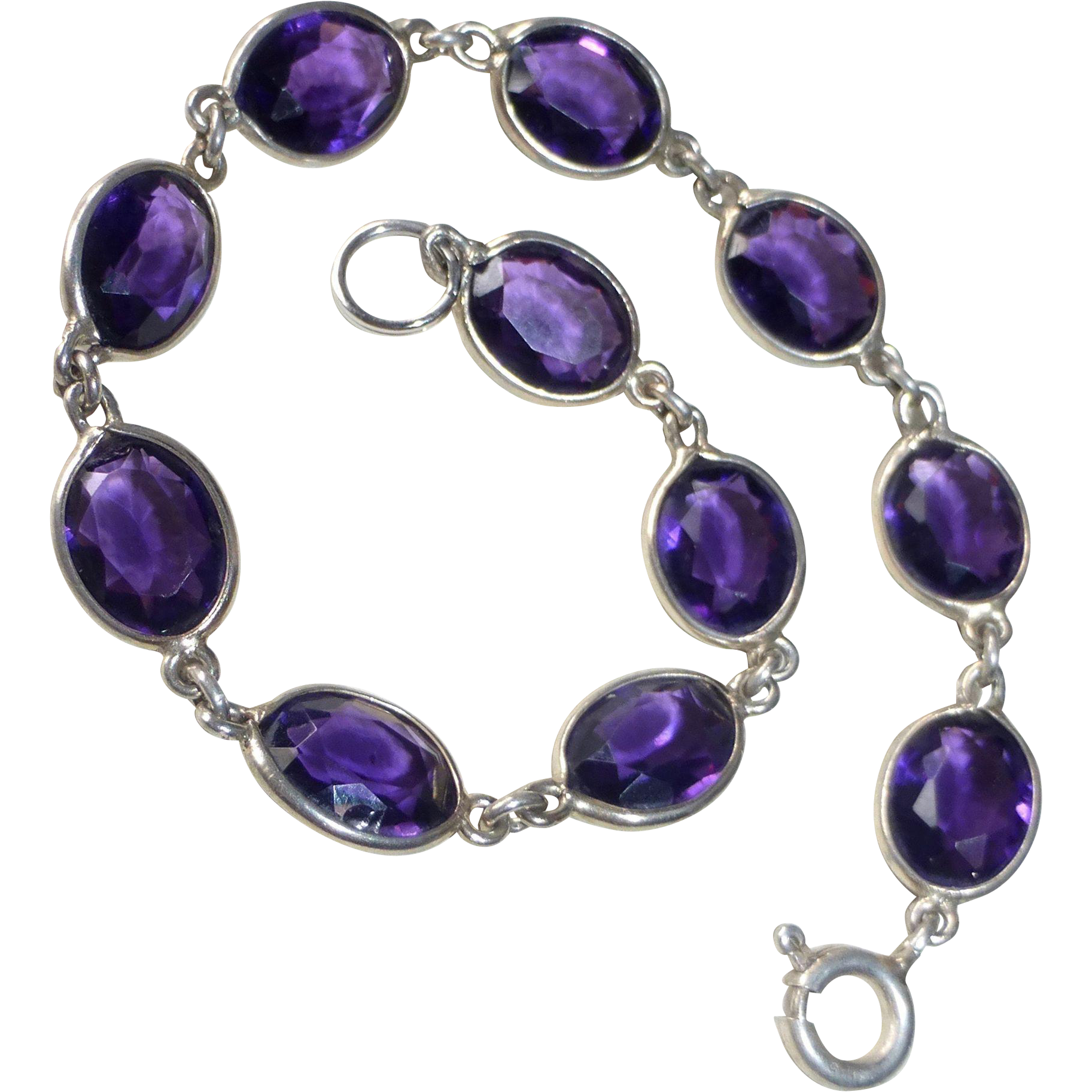Sterling & Amethyst Glass Link Bracelet