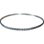Beau Sterling Leaf Patterned Bangle Bracelet