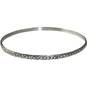 Sterling Silver Bangle Bracelet Embossed Yin-Yang Pattern