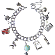 Sterling Charm Bracelet 11 Great Old & Kinetic Charms