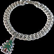 Double Link Sterling Starter Charm Bracelet Enamel Christmas Tree Charm