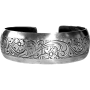 Beau Sterling Floral Patterned Cuff Bracelet