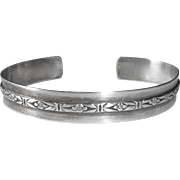 Sterling Cuff Bracelet Embossed Design