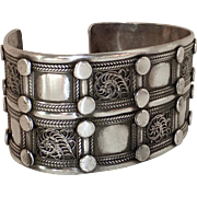 Large Ethnic Sterling Silver Cuff Bracelet