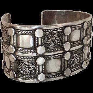 Large Ethnic Sterling Silver Cuff Bracelet